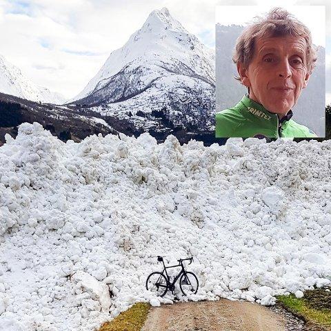 OPPLEVINGSRIK TRIMTUR: Dag Arne Eide trenar mykje, både på på ski, sykkel og til fots. På ein treningstur til Våtedalen kom han over dette raset.