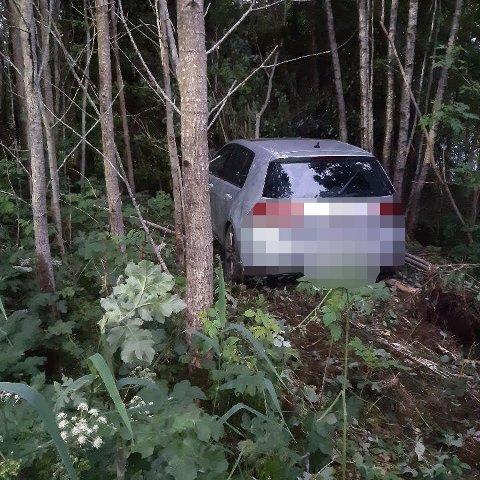 KØYRDE UTFOR VEGEN: Ein mann i 20-åra har tilstått at han var rusa då han køyrde denne bilen utfor vegen og 15 meter inn i skogen i sommar. Mannen var ikkje eigaren av ulykkesbilen.
