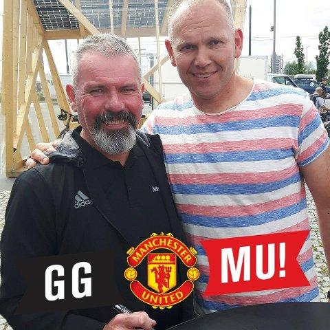 UNITEDFAN: John Søgnen (t.v.) blør for Manchester United. Men om Super Leauge blir noko av er forholdet over. Her er han saman med legenden Brian McClair.