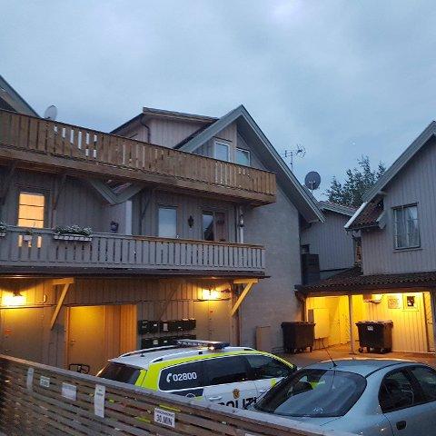 Polititjenestemenn fra Østfold-politiet i bakgården på Holmen, få meter fra leiligheten de undersøkte tidligere på dagen.