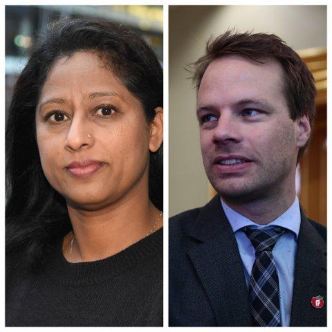 Nasim Rizvi er nestleder i Buskerud Innvandrerråd, mens Jon Helgheim er innvandringspolitisk talsmann i Frp.