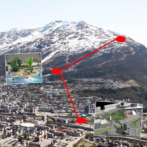 Slik kan en heis i fjellet bli. Med start i byen. Stans i det nye sentrumsområdet, med badeland. Og avslutning ved Øvre Fjellheisstasjon. Skissen av fjellheisen (innfelt) er laget av Svein Holbø Consulting.