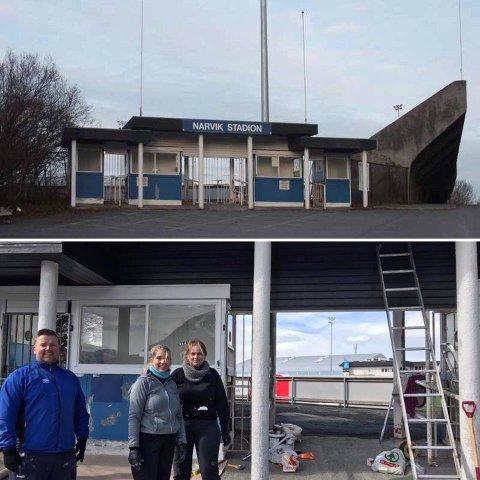 Andre Fjelldal, May Liss Fjelldal og Elisabeth Pedersen, blant andre, sørger for inngangsporten til Narvik Stadion skal bli mye finere til Funn Cup åpner.