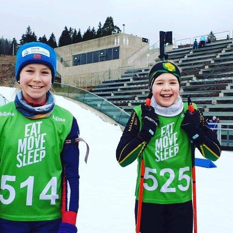 DELTOK: Martine Sofie Skog og Andrea Kristoffersen fra skiskyttegruppa i Bjerkvik var med i lørdagens skiskytterrenn.