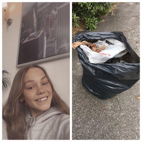 Malena Johannessen på Dirdal skole samlet søppel som hjemmelekse.