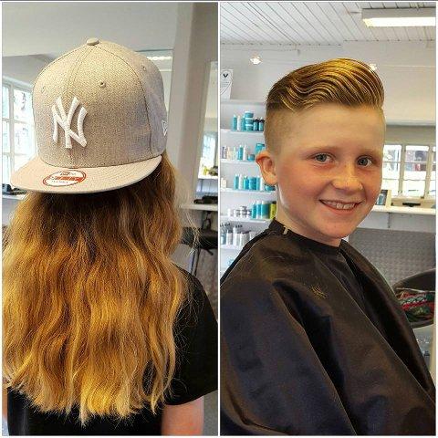 Tøff jente: Mormor var skeptisk til at det vakre håret skulle klippes, men 11 år gamle Mathilde Haug-Bakke var sikker i sin sak, og hun har ikke angret. – Vennene mine synes det er kult.