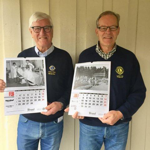Jarle Kalseth (t.v.) og Terje Grini utgjør kalenderkomiteen for den nye Lions-kalenderen i Ringsaker.