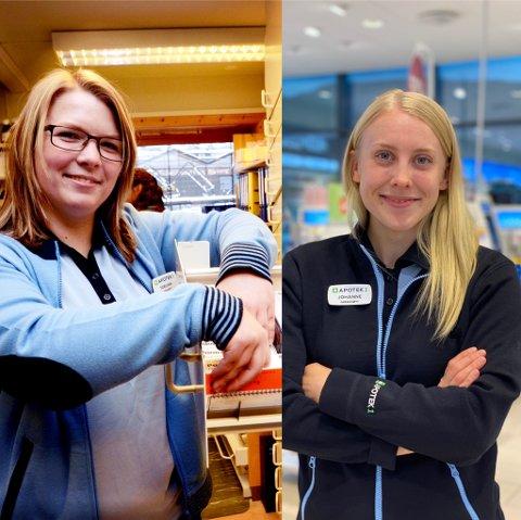 Torunn Stadeløkken (til venstre) har nettopp fått konsesjon som apotekar i Lom. Johanne Sve Bjørndal har tilsvarande jobb på Apotek 1 på Vinstra.