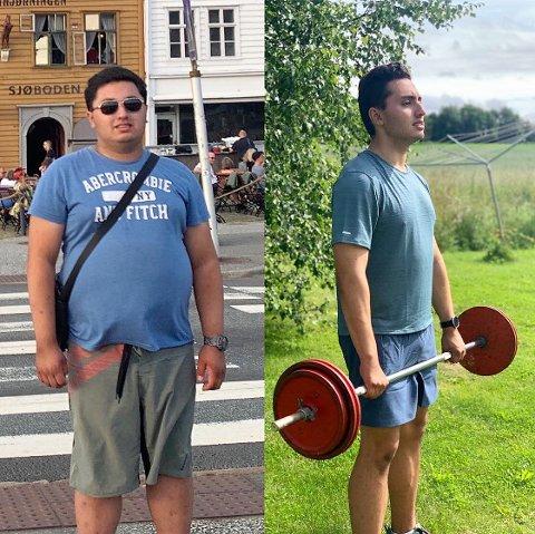 FØR OG NÅ: Rickard Skaug endret livsstil og gikk ned 28 kilo på et år. Endring i livsstilen har styrket selvbildet, gitt større selvtillit og skapt en langt bedre sosial hverfdag for einagutten.