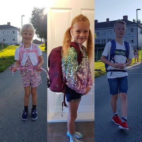 SKOLESTART: Lilja Sofie, Stella Aurora og Filip Leander hadde første skoledag etter ferien i dag. De går i henholdsvis første, fjerde og sjuende klasse ved Fredheim skole.