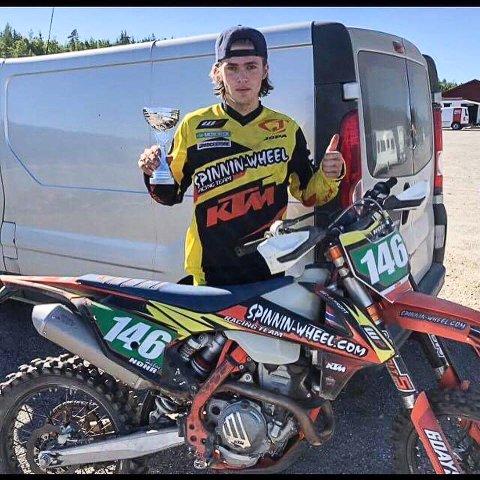 VANT: Håkon Nohr (18) vant lørdagens NC-løp i enduro på Rudskogen.
