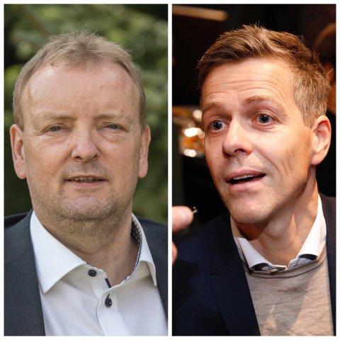 DISKUTERTE HAUKELIFJELL: Terje Halleland (t.v..) og Knut Arild Hareide.