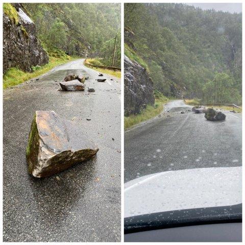 FV 520: Store steiner i veibanen etter raset.
