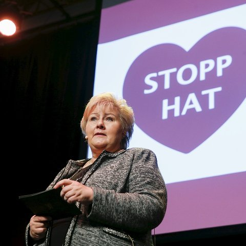 Konferanse: Statsminister Erna Solberg  deltok på ungdomskonferansen «Sammen mot hatprat». Foto: Terje Pedersen / NTB scanpix