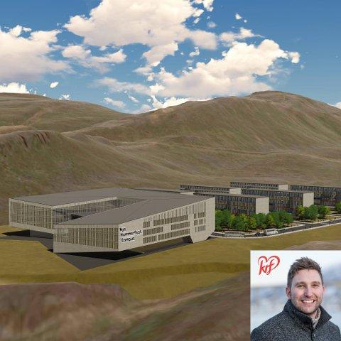 Nye Hammerfest Campus ved Storfjellet der flyplassen ligger i dag, med stor plass til nye boligområder.