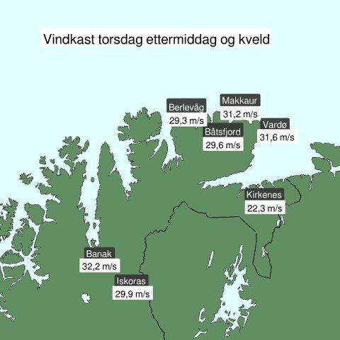 BLÅSTE GODT: Her er oversikten over vindstyrkene målt i Finnmark torsdag.