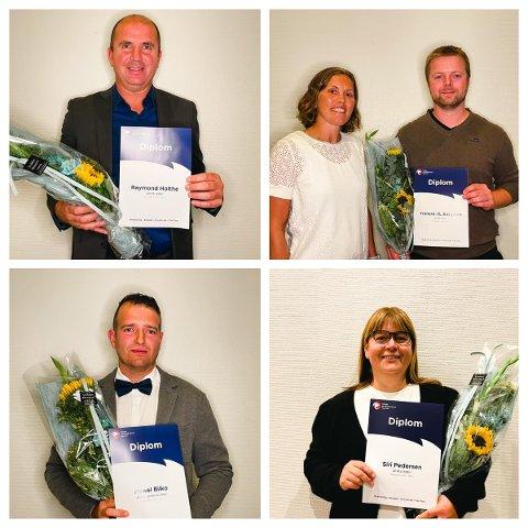 PRISVINNERE: Raymond Holthe, IL Aasguten, Pawel Bilko og Siri Pedersen vant priser under Region Nord sitt Håndballforum i Stjørdal i helga.