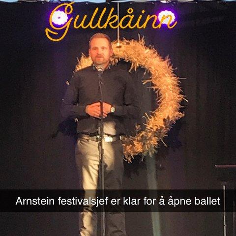 FESTIVALSJEF: Arnstein Langåssve, kulturhusleder og festivalsjef ønsket velkommen til hjertebarnet sitt, Gullkåinnfestivalen.
