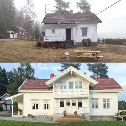 Rikke Eng Ruud og Tor-Håkon Ruud har totalrenovert og bygd på et 100 år gammelt hus. Med barna Herman og Aleksander har de funnet lykken på et småbruk.
