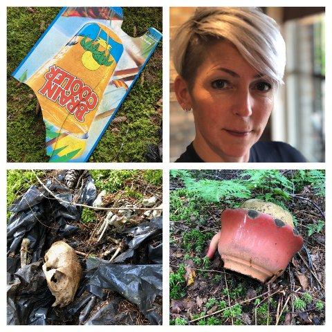 BLE SJOKKERT: Tonhild Sælid ble sjokkert over all søppelet som fløt i skogkanten da hun skulle på sopptur. Et skjelett av det som trolig er en katt var blant tingene hun fant (nederst til venstre).