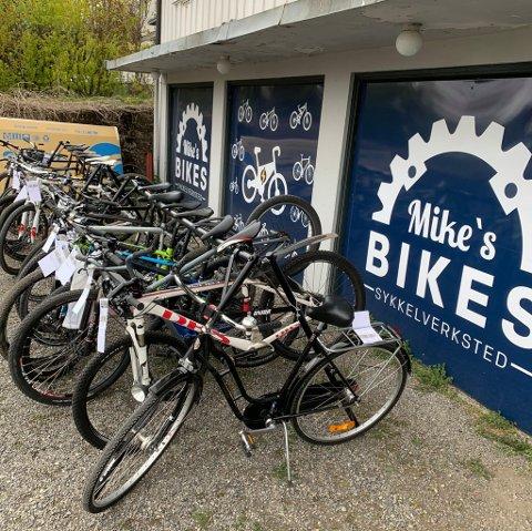 "STOR PÅGANG: Køen av sykler i Trondheimsvegen bare vokser og vokser. I år skal ""alle"" sykle."