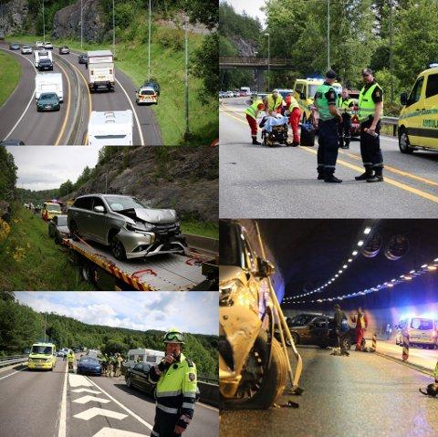 Fem ulykker: Den siste uken har det vært fem ulykker på E-18.