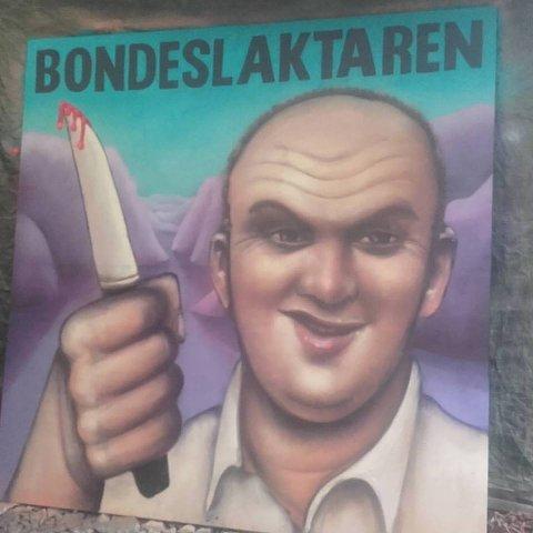 Denne plakaten laga av Gaute Haugland blei stoppa av leiaren i Norges bondelag. (Foto: Kjetil Mehl).