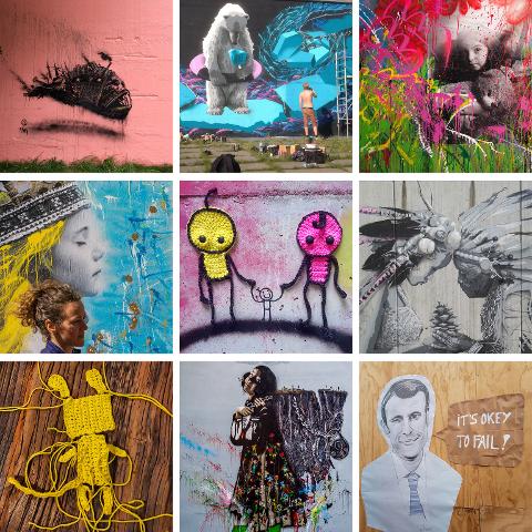 Her ser du kunst av alle kunstnarane som kjem til å bidra under festivalen i Kvinnherad mellom 11. og 17. juni. Festival-leiinga er dessutan på jakt etter sponsorar og vegger som kan dekorerast med kunst. (Fotokollasj: Mats Bauge).