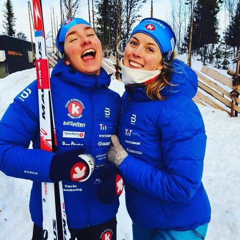 TO OG TRE IGJEN: Nora Dokken Berget (t.v.) og Ingvid Tronstad Andersen ble nummer to og tre på lørdagens sprint for Kvinner 19 under norgescupen i Ål. På fellesstarten dagen før ble de også nummer to og tre.