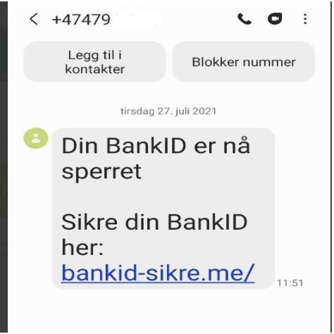 SVINDELFORSØK: Denne meldingen har blitt sendt ut til flere av bankens kunder.