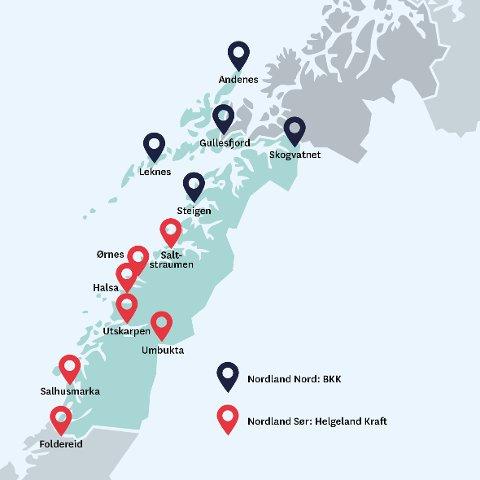 Dette er de nye ladestasjonene i Nordland, etter at Enova utlyste en konkurranse der de bidrar økonomisk til bygging. Også Svolvær får. Ikke som en del av Enova-pakka, men som en bonus siden BKK kommer til Lofoten i forbindelse med anbudet.