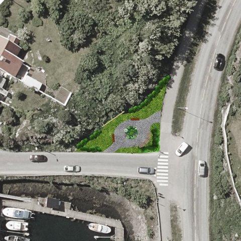 Kryss: Kabelvåg innbyggerforening ønsker å forskjønne krysset ved Mattisvika i Kabelvåg.