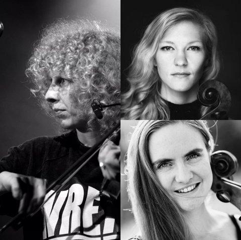 Konserten med Cellolyd og Tuva Syvertsen (t.v.) flyttes fra tirsdag til onsdag. grunnet koronasmitte hos en nærkontakt til en av musikerne. De andre musikerne på bildet er Amalie Stalheim (øverst t.h.) og Oda Holstad Dyrnes.