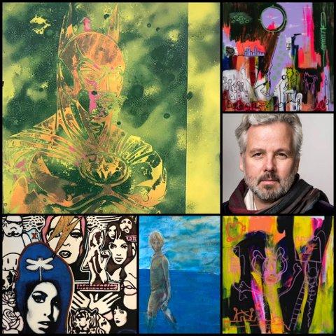 TIL MOSS: Fra øverst til venstre mot klokken: Bilder laget av Val Kilmer, Espen Eiborg, Mikael Persbrandt og to bilder laget av Ari Behn. Portrettet av Ari er tatt av Per Heimly.