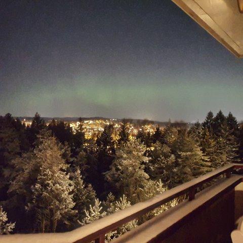 NORDLYS: Lene Puntervold fikk sett nordlys på himmelen over Mosseskogen natt til tirsdag.