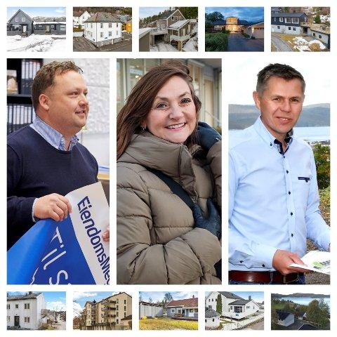 EKSPERTENES SITUASJONSRAPPORT: Omgitt av noen av de mange eiendommene som er blitt solgt de siste ukene, forteller eiendomsmeklerne Anders Jensen (Eiendomsmegler 1, til venstre), Elin Brøndbo (DNB Eiendom) og Torleif Sommerseth (Boli) hvordan de opplever boligmarkedet i Namsos akkurat nå.