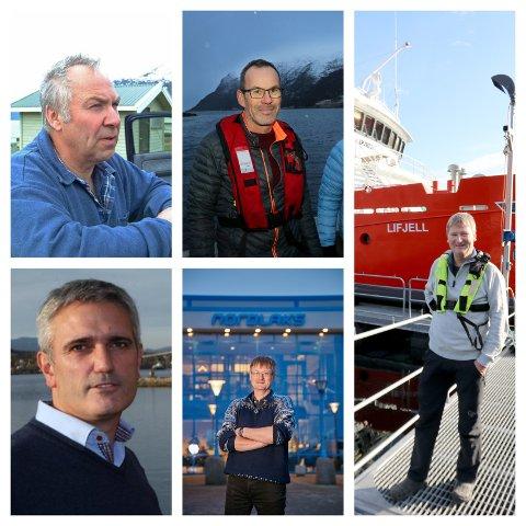 OPPDRETTSMILLIONÆRENE: Odd Geir Bekkeli, brødrene Hansen i Sjurelv fiskeoppdrett, Fredd-Jarle Wilsgård og Tore Lundberg.