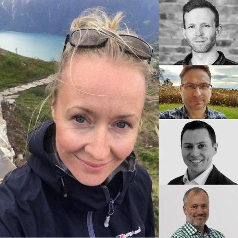 NYANSATT: Til venstre: Guri Molden Kaldahl, fra toppen: Håvard Finnseth, Øyvind Bones, Bjørnar Bang og Tyson Weaver.
