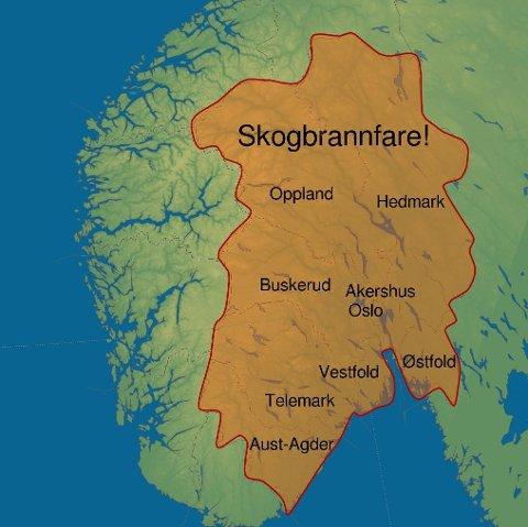 Meterologene varsler om stor skogbrannfare lokalt i flere områder, deriblant Oppland.