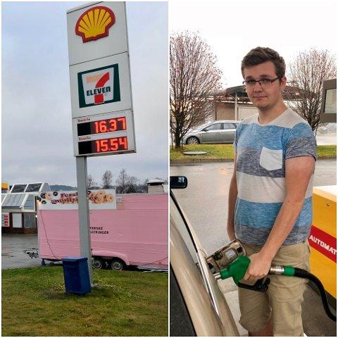 DYRT: Per Erik Thorsholen (18) ser ikke lyst på Norges bensinpriser, men som statistikken viser kunne prisene vært langt verre for lommeboka.