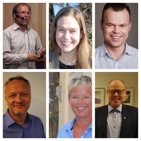 GODE KANDIDATER: Oppe fra venstre Åge Sandsengen, Maria Härenstam, Espen Johnsen Granberg, Haakon Boie Ludvigsen , Laila Nereng og Halldor Kvale-Skattebo.