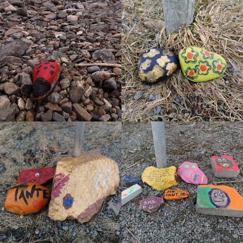 OPTIMIST-DUGNAD: Gjøvik Frivilligsentral oppfordrer gjøvikensere til å male steiner og plassere dem langs turstier. I en boliggate på Gjøvik har det dukket opp flere steiner.