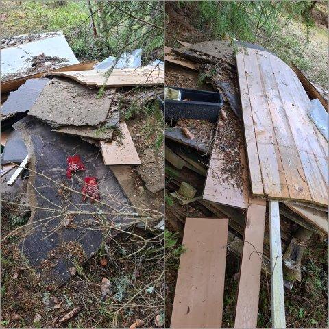 DUMPET: Dette lasset med søppel er dumpet i Kolbulinna ved Eina.