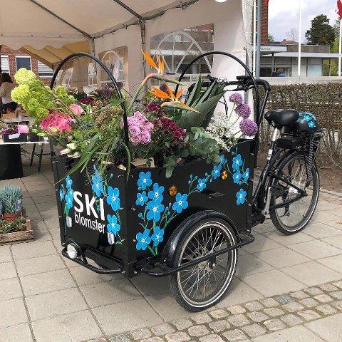 BLOMSTERSYKKEL: Sykkelen tilhørende Ski Blomster sto i bakgården, med lasteplanet fullt av forglemmegei, da noen klippet av låsen og tok den med seg natt til tirsdag.