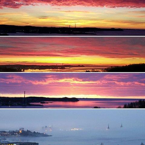 Lisbeth Hansen har satt sammen fire bilder tatt i det siste, med utsikt over Larviksfjorden, som mange mener er like fin, uansett om det er sol, vind, regn, tåke, morgen eller sen kveld. du kan se alle bildene i bildeserien i saken.