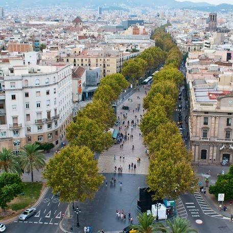 La Rambla, som er selve kjennetegnet på Barcelona.