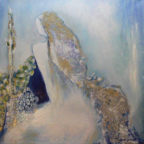 «THE BLUE ELF»: Akryl på lerret. Kerstin Birkheim.