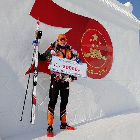 TIL TOPPS: Vinjar Skogsholm fra Rena gikk helt til topps i Vasaloppet China i natt.