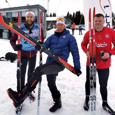 Øystein Pølsa Pettersen, John Arne Riise, Hans Olav «Hanso» Ingholm konkurrerte mot hverandre gjennom Birkebeinerløypa torsdag.