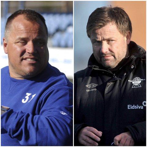 KLARE: Nybergsund-trener Ola Brenden og Elverum-trener Stian Aasen kan belage seg på sesongstart rundt 8. august. Håpet er at man kan starte med fullkontakt-trening fra 24.mai.